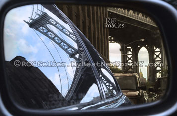Past & Present: Manhattan Bridge & Empire State Building in the Mirror.