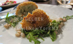 Fish Croquette w. Heirloom Beans at Gramercy Tavern Bar, New York, NYC