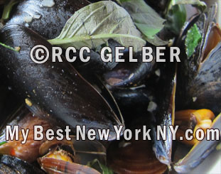Mussels in thai basil broth at Restaurant Spice Market, Manhattan, Meatpacking district NY