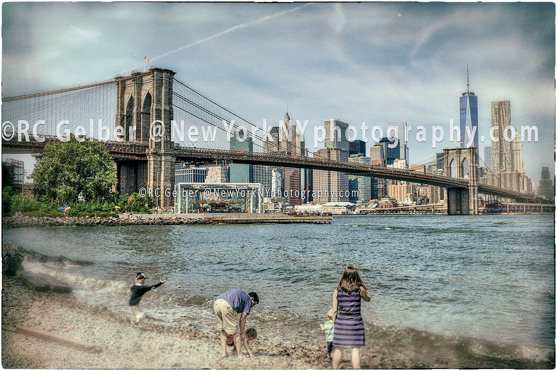 Dumbo, Jane's Carousel, Brooklyn Bridge and Lower Manhattan & the Financial District.