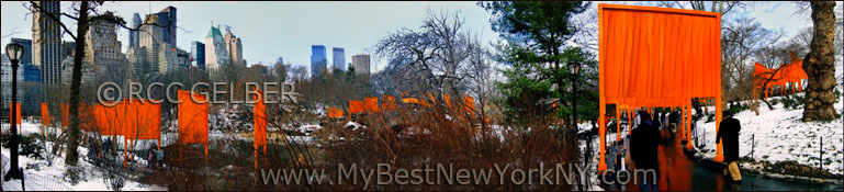 "Christo & Jeanne-Claude's installation ""Gates"" in Central Park, February 2005. Central Park south in background."