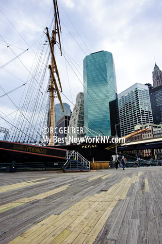 Tall Ship at South Street Seaport. Lower Manhattan, Financial District in Background.